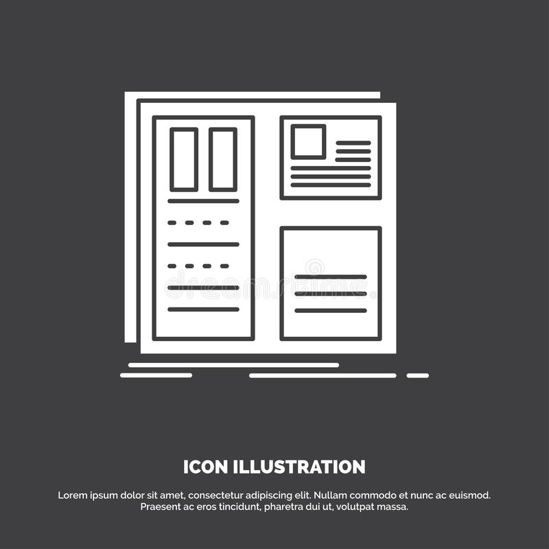 Design, grid, interface, layout, ui Icon. glyph vector symbol for UI and UX, website or mobile application. Vector EPS10 Abstract Template background stock illustration