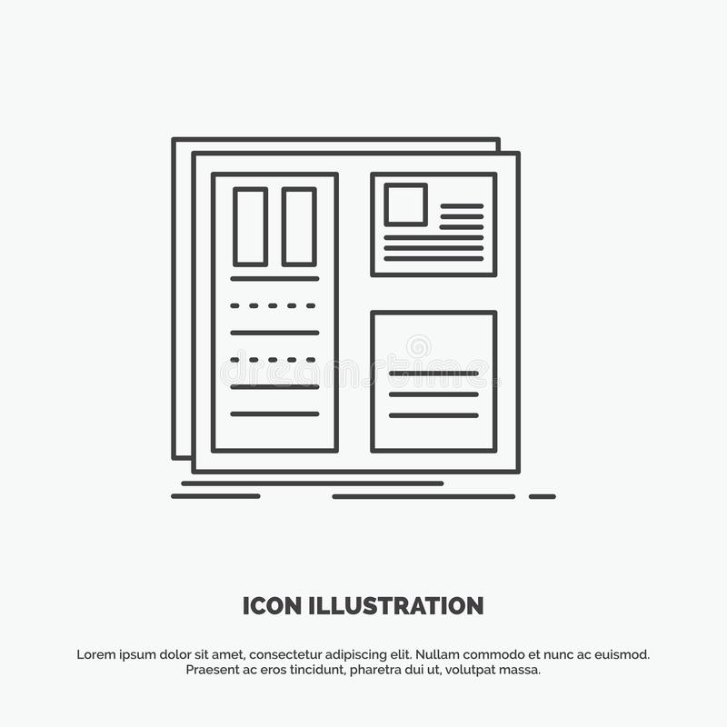 Design, grid, interface, layout, ui Icon. Line vector gray symbol for UI and UX, website or mobile application. Vector EPS10 Abstract Template background royalty free illustration