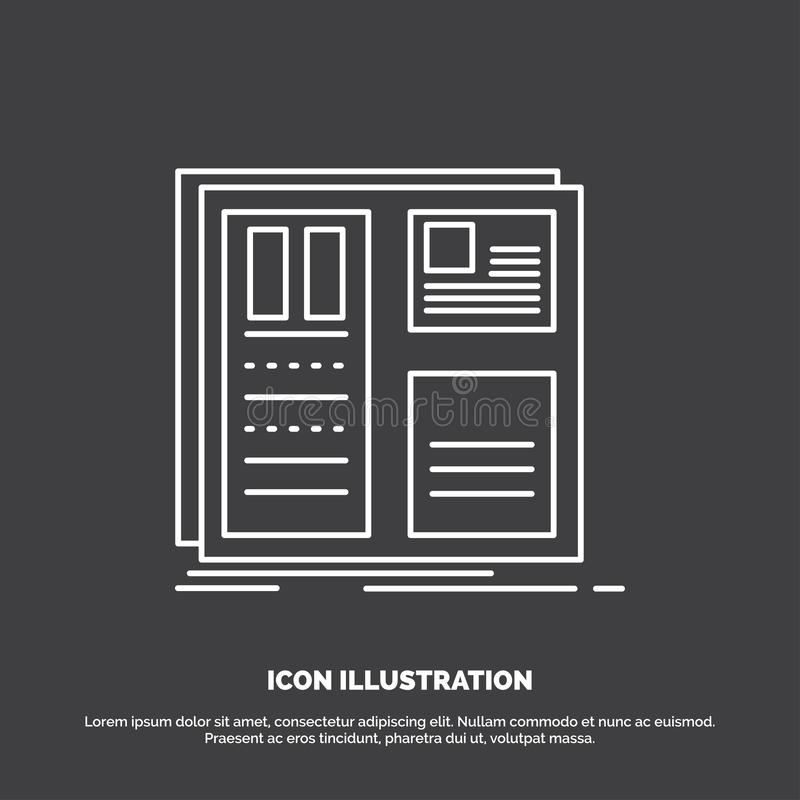 Design, grid, interface, layout, ui Icon. Line vector symbol for UI and UX, website or mobile application. Vector EPS10 Abstract Template background royalty free illustration