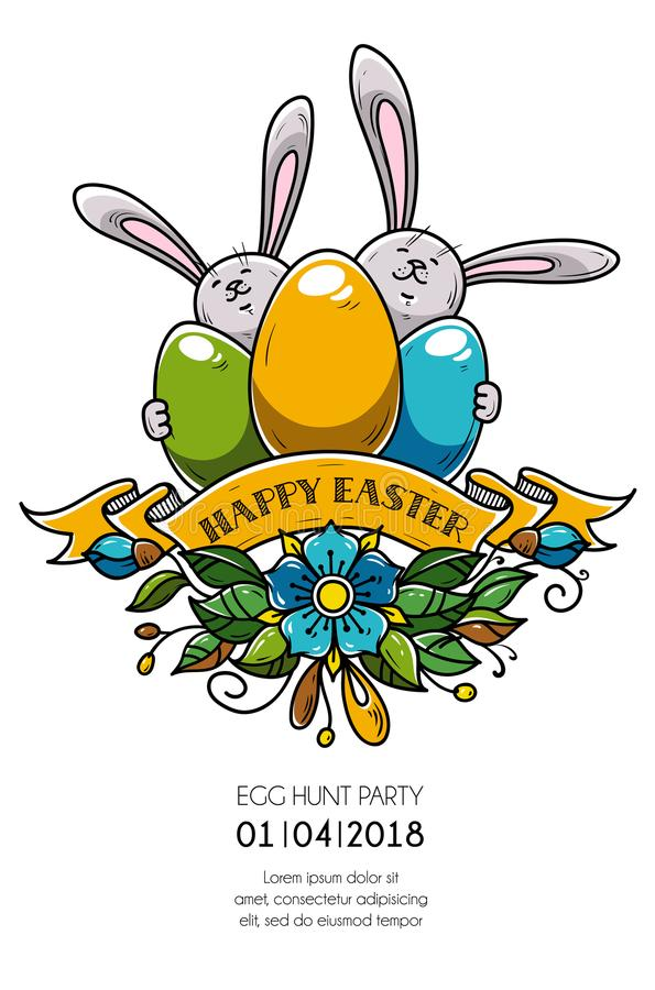 Design of Happy Easter poster, invitation to holiday party. Two rabbits hold eggs, ribbon and flowers. Eggs hunt party royalty free illustration