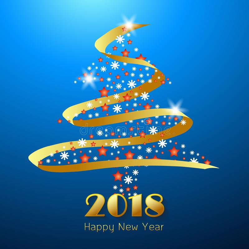 Design happy new year 2018 greeting card. royalty free illustration