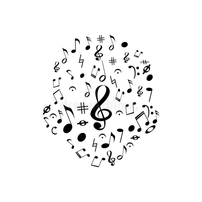 Design of the head with black music notes royalty free illustration