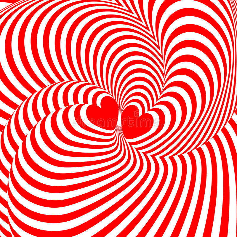 Design hearts twisting movement illusion backgroun royalty free illustration