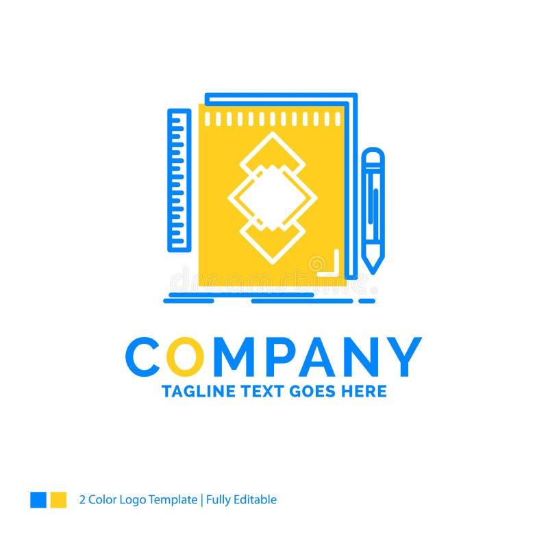 design hjälpmedel, identitet, attraktion, blå gul affär L för utveckling vektor illustrationer
