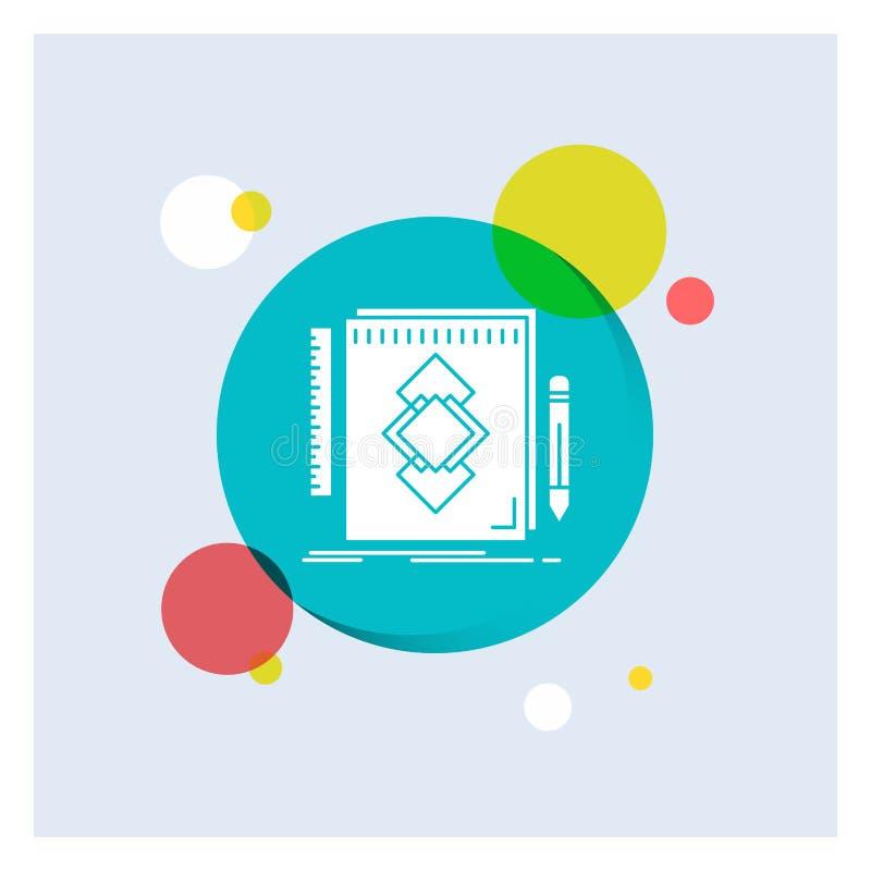 design hjälpmedel, identitet, attraktion, för vit bakgrund för cirkel skårasymbol för utveckling färgrik royaltyfri illustrationer