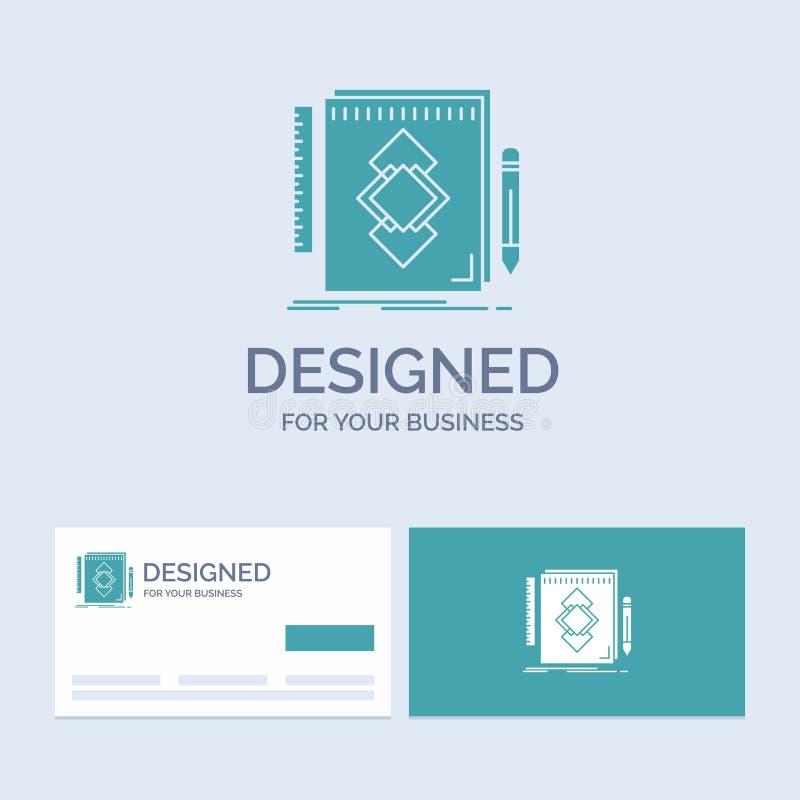 design hjälpmedel, identitet, attraktion, utvecklingsaffär Logo Glyph Icon Symbol för din affär Turkosaff?rskort med m?rke royaltyfri illustrationer