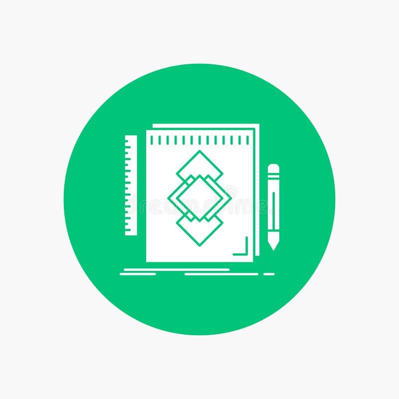 design hjälpmedel, identitet, attraktion, vit skårasymbol för utveckling i cirkel Vektorknappillustration vektor illustrationer