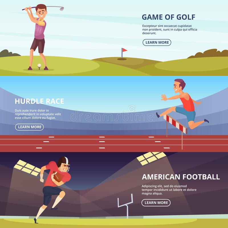 Design of horizontal banners with sport peoples in action poses stock illustration