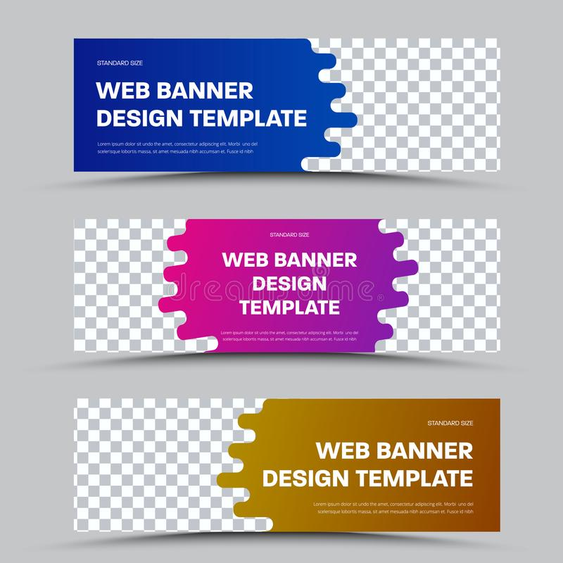 Design of horizontal vector web banners with framed teardrop shape and place for photo stock illustration