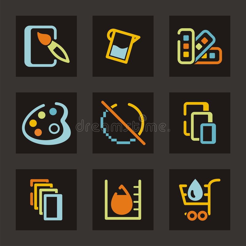 Download Design Icons Set stock vector. Image of paintbrush, color - 1971891