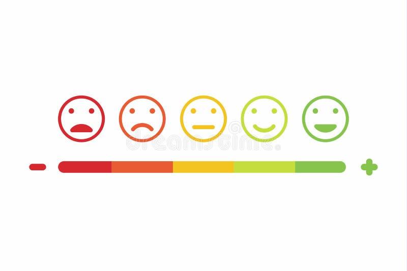 Design-Ikonensatz des Feedback Emoticonlächelns flacher lizenzfreie abbildung