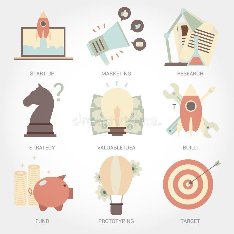 Design-Ikonensatz des Unternehmergeisten flacher lizenzfreie abbildung