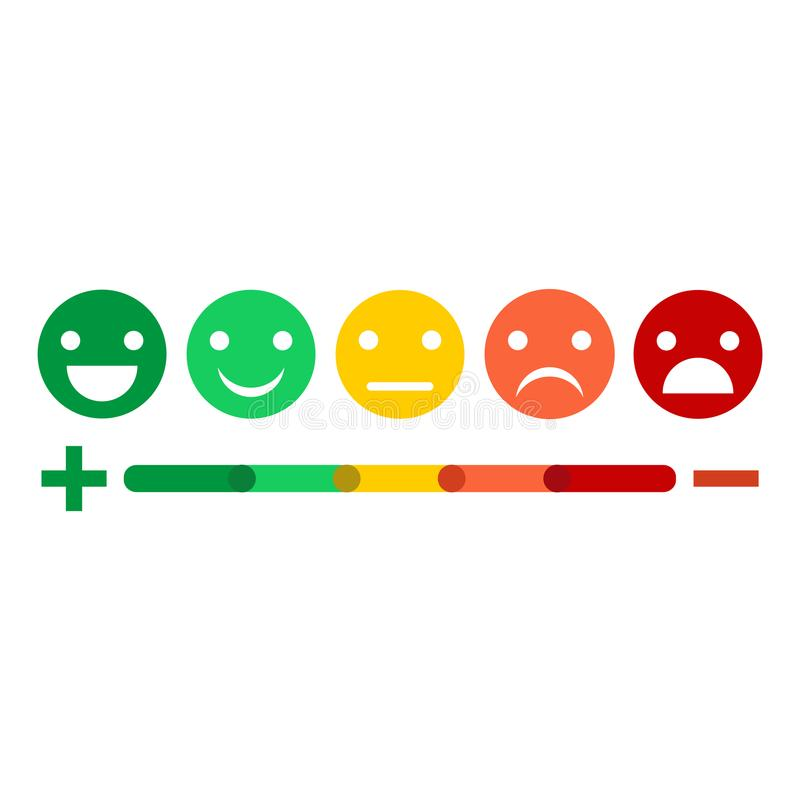 Design-Ikonensatz Illustrations-Feedback Emoticon flacher stock abbildung