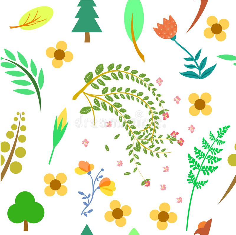 Pattern stems, twigs, leaves, flowers. Design illustration pattern with the theme of this plant or tree has an uncomplicated shape design and color that is vector illustration