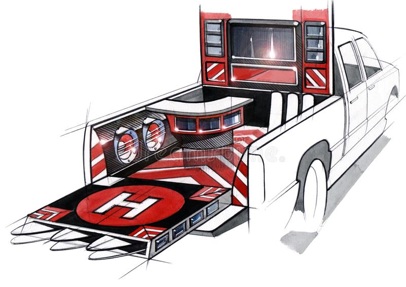 A design illustration of a project of an exclusive tuned car pickup for music festivals. Examination of the interior stock illustration