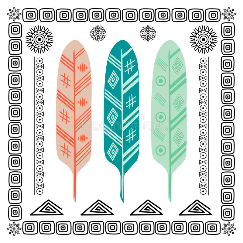 Design with Indian Feathers royalty free stock photos