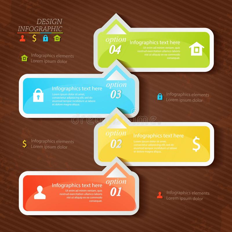 Design infographics four successive options with icons can use for infographic or web design. vector illustration