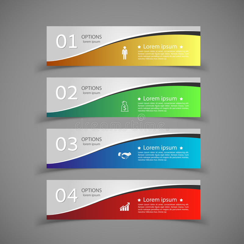 Design infographics number banners template. royalty free illustration