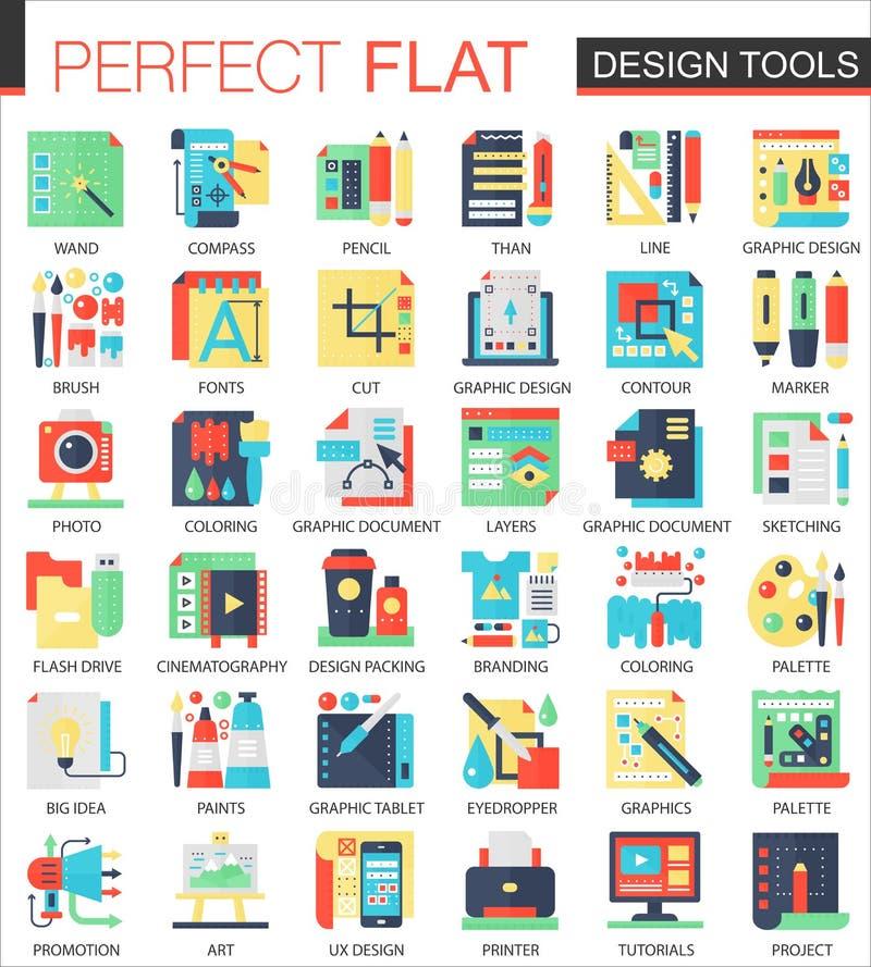 Design interface tools vector complex flat icon concept symbols for web infographic design. Design interface tools vector complex flat icon concept symbols for vector illustration