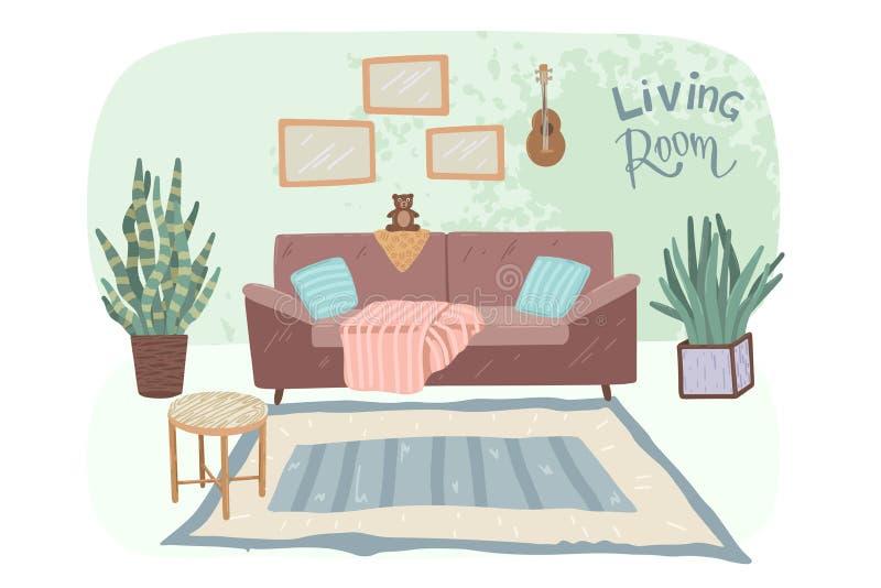 Design interior da sala de estar Estilo escandinavo Ilustração vetorial ilustração stock