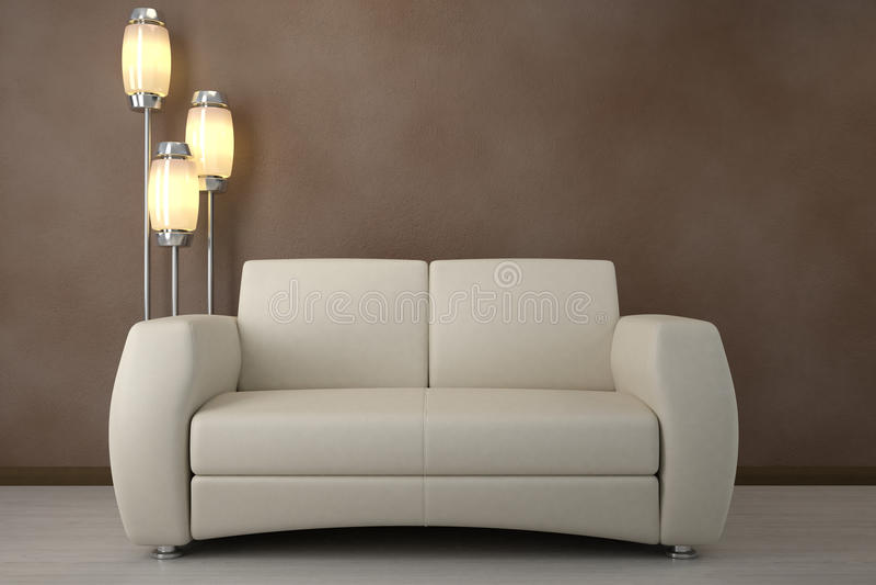 Design interior. Sofa in room stock illustration