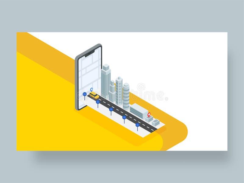 Design isométrico em 3D para localização de táxis ou cabinas através da navegação de mapas em smartphone para a Reserva de Tabela ilustração stock