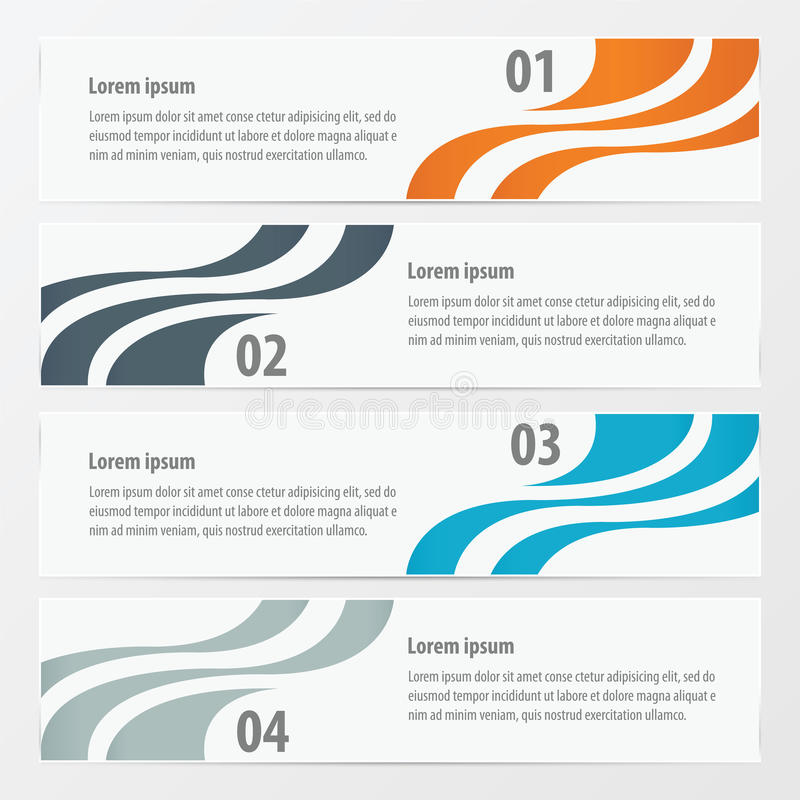 Design 4 item on banner template Orange , blue, gray color royalty free stock photography