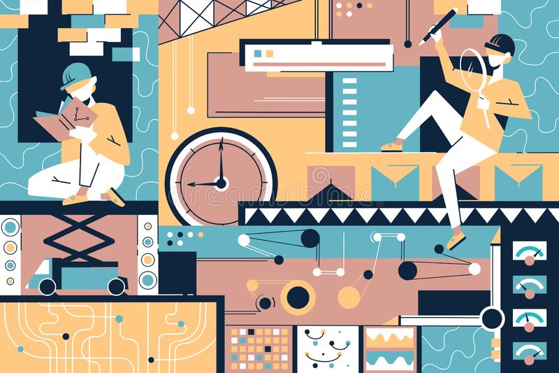 Design items background of people, designer equipment and time. royalty free illustration