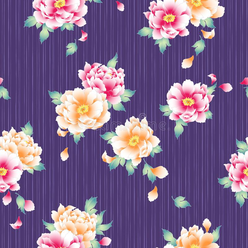 Japanese style peony pattern,. Design of the Japanese style peony, It is used for a kimono, This painting continues repeatedly stock illustration