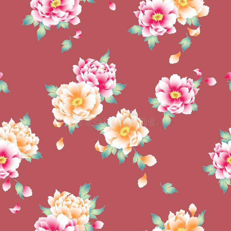 Japanese style peony pattern,. Design of the Japanese style peony, It is used for a kimono, This painting continues repeatedly vector illustration