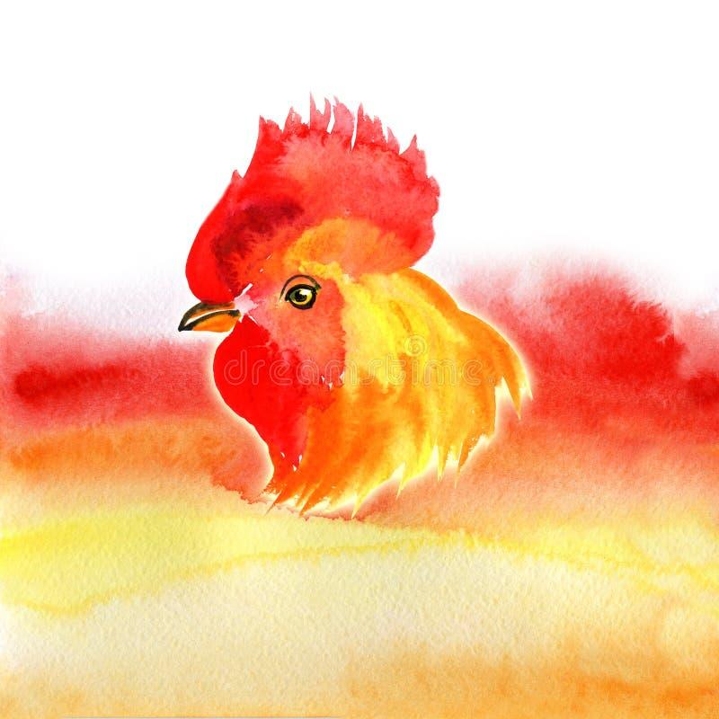 Design Karte des Chinesischen Neujahrsfests mit rotem Hahn, Tierkreissymbol von 2017, auf brennendem Hintergrund des Aquarells vektor abbildung