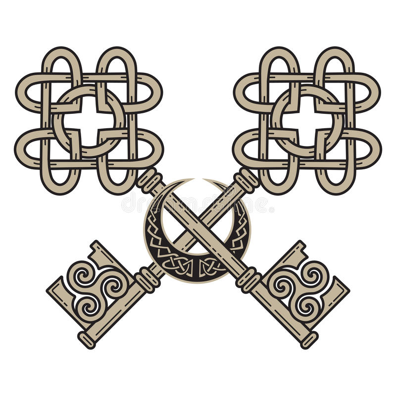 Design of the Keys in the Celtic style. Sign of wisdom royalty free illustration