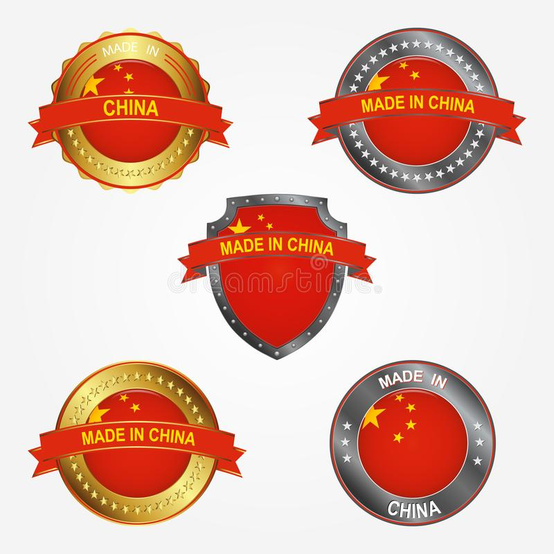 Design label of made in China. Vector illustration royalty free illustration