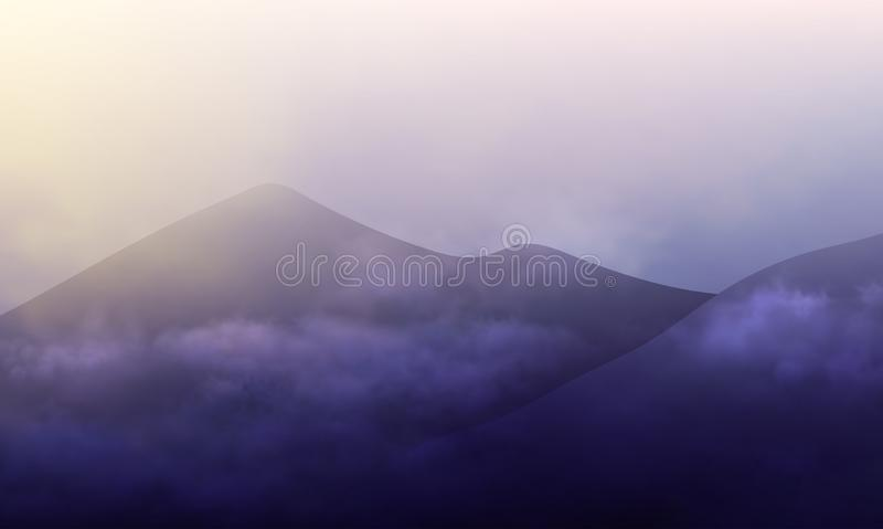 Design of landscape with dark mountains and cloudy sky on sun rise. Morning mist vector illustration royalty free illustration