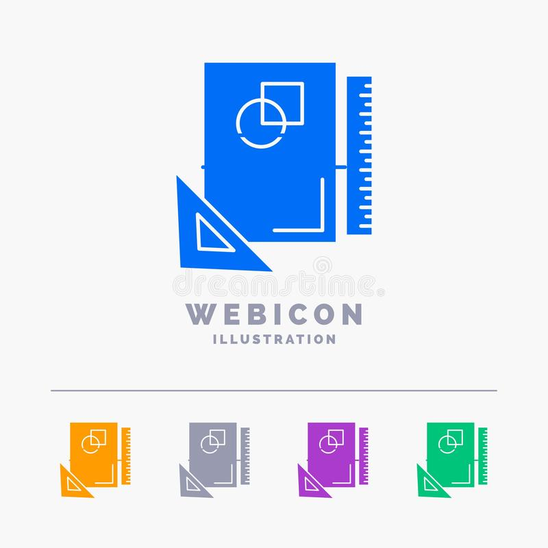 Design, layout, page, sketch, sketching 5 Color Glyph Web Icon Template isolated on white. Vector illustration. Vector EPS10 Abstract Template background vector illustration