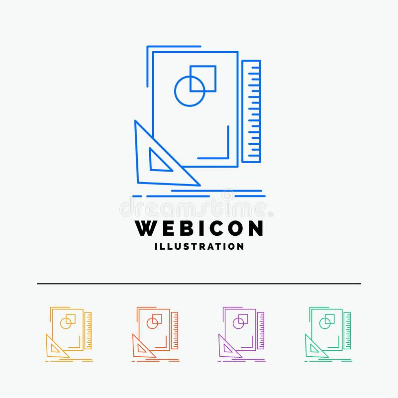 Design, layout, page, sketch, sketching 5 Color Line Web Icon Template isolated on white. Vector illustration. Vector EPS10 Abstract Template background vector illustration