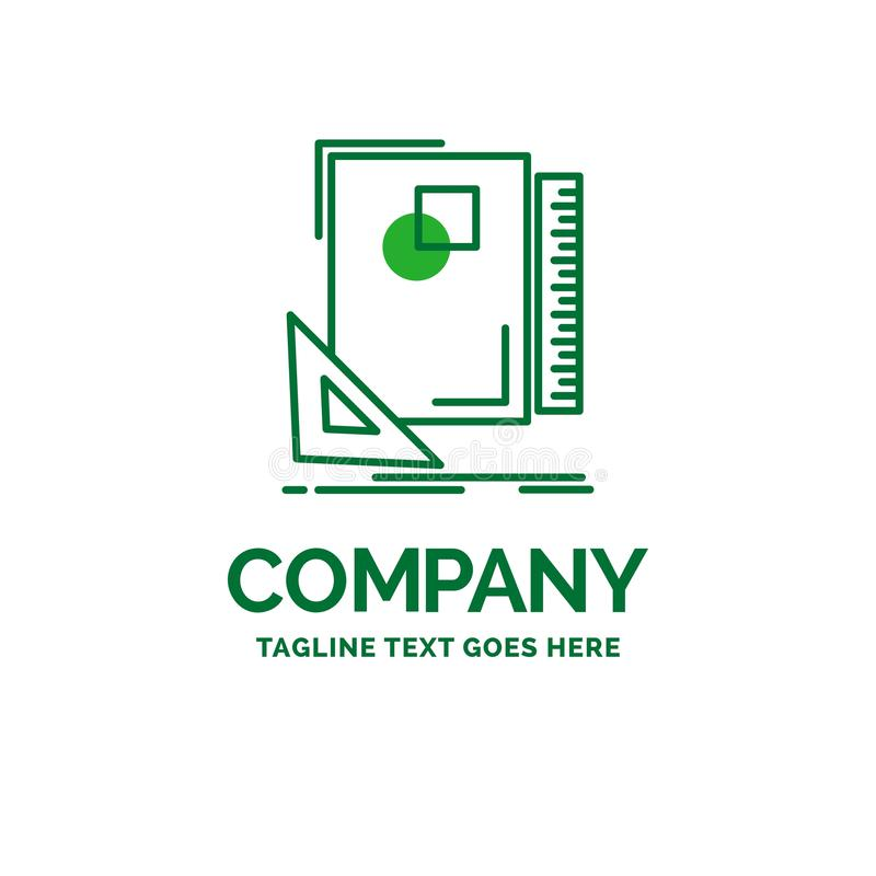 Design, layout, page, sketch, sketching Flat Business Logo templ. Ate. Creative Green Brand Name Design royalty free illustration