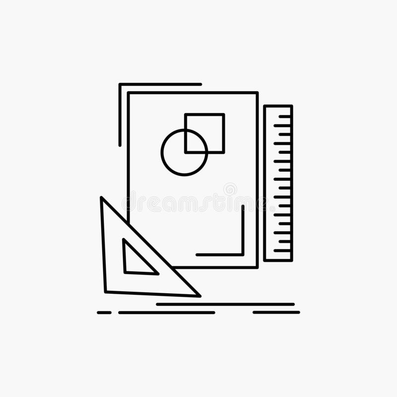 Design, layout, page, sketch, sketching Line Icon. Vector isolated illustration. Vector EPS10 Abstract Template background royalty free illustration