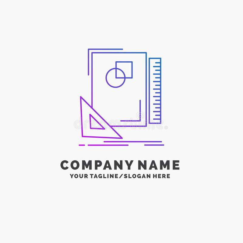 Design, layout, page, sketch, sketching Purple Business Logo Template. Place for Tagline. Vector EPS10 Abstract Template background stock illustration