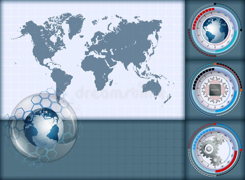 download design layout template with world map and earth globe inside sphere of glass stock