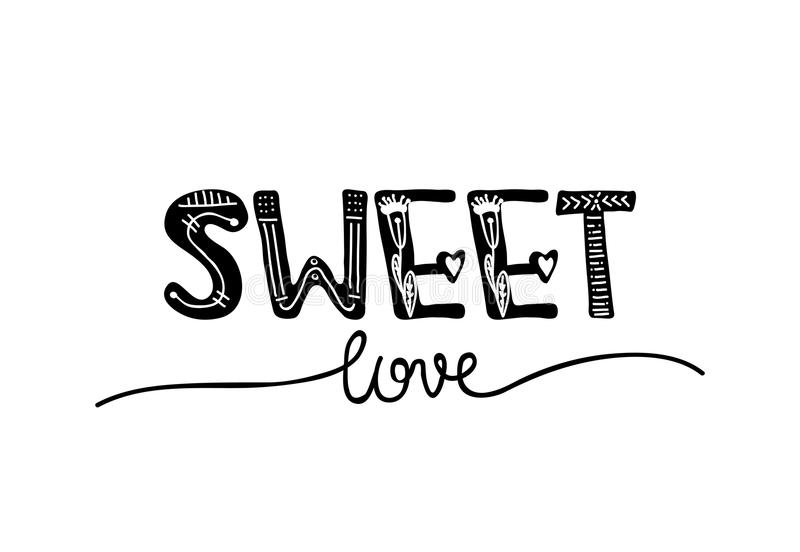 Design lettering with a quote about love for Valentine s day. Young culture fashion art for t-shirt emblem. Vector. Illustration royalty free illustration
