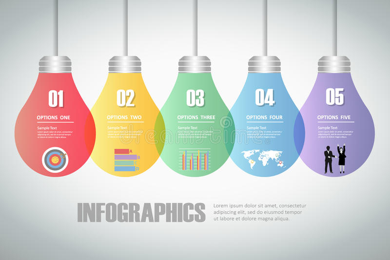 Design lightbulb idea infographics 5 steps. stock illustration