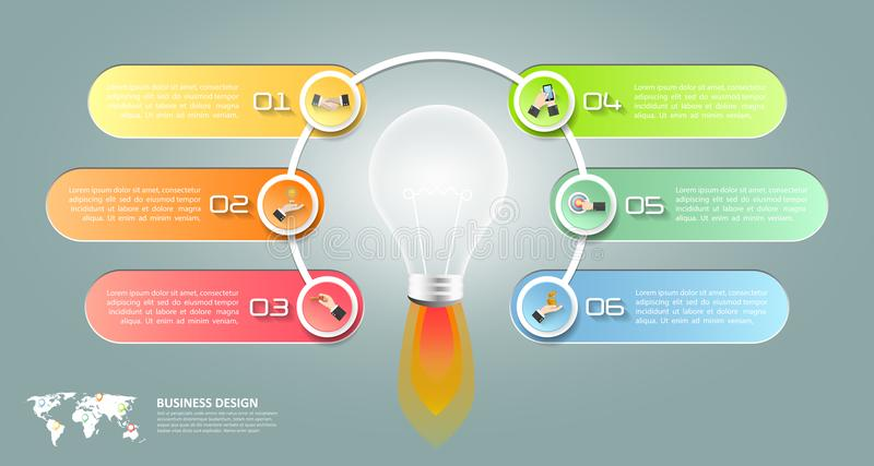 Design lightbulb infographic 6 options, Business concept. Infographic template can be used for workflow layout, diagram, number options, timeline or milestones royalty free illustration