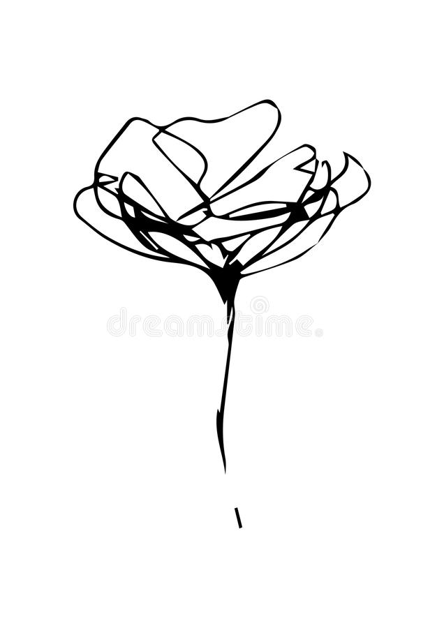 Design with line art flowers stock images