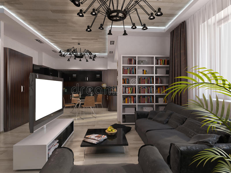 Design living room with warm colors. 3D visualization of a living room with warm colors vector illustration