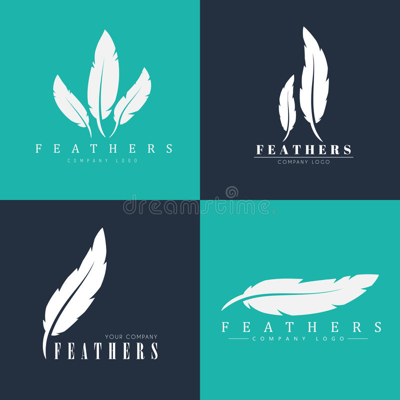 Design Of Logos With Feathers. Templates For Writers, Book Publi ...