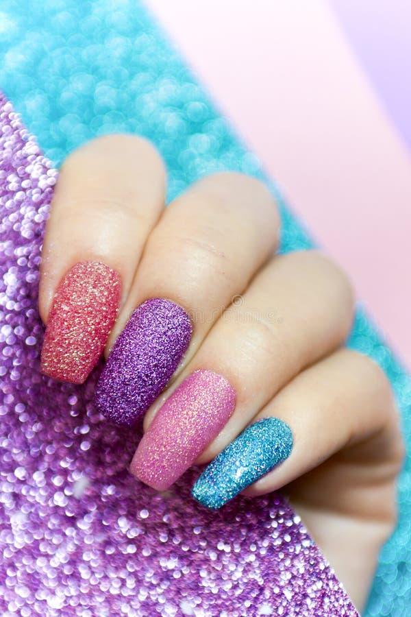 Design on long nails . stock photo. Image of brush, background ...