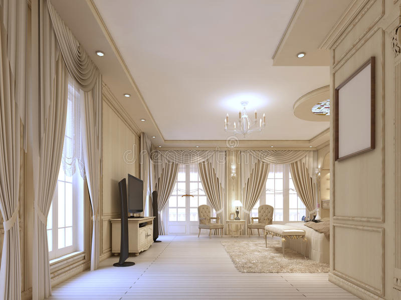 Design luxury bedroom in beige tones, with large Windows and classical curtains. stock illustration