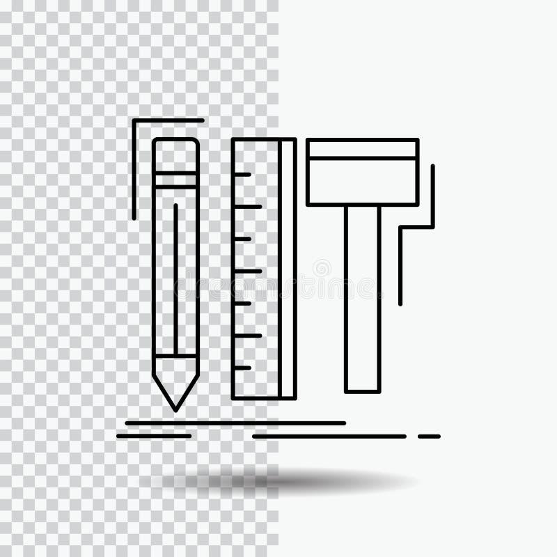 Design märkes- som är digital, hjälpmedel, blyertspennalinje symbol på genomskinlig bakgrund Svart symbolsvektorillustration vektor illustrationer