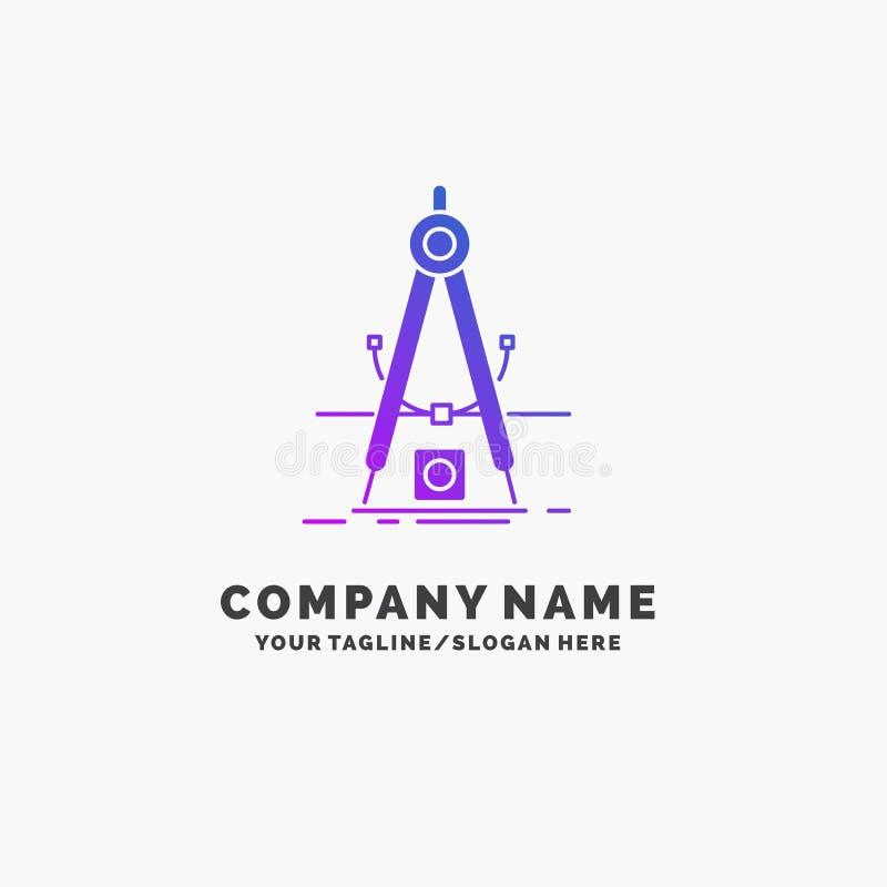 Design mått, produkt, förfining, purpurfärgad affär Logo Template för utveckling St?lle f?r Tagline vektor illustrationer